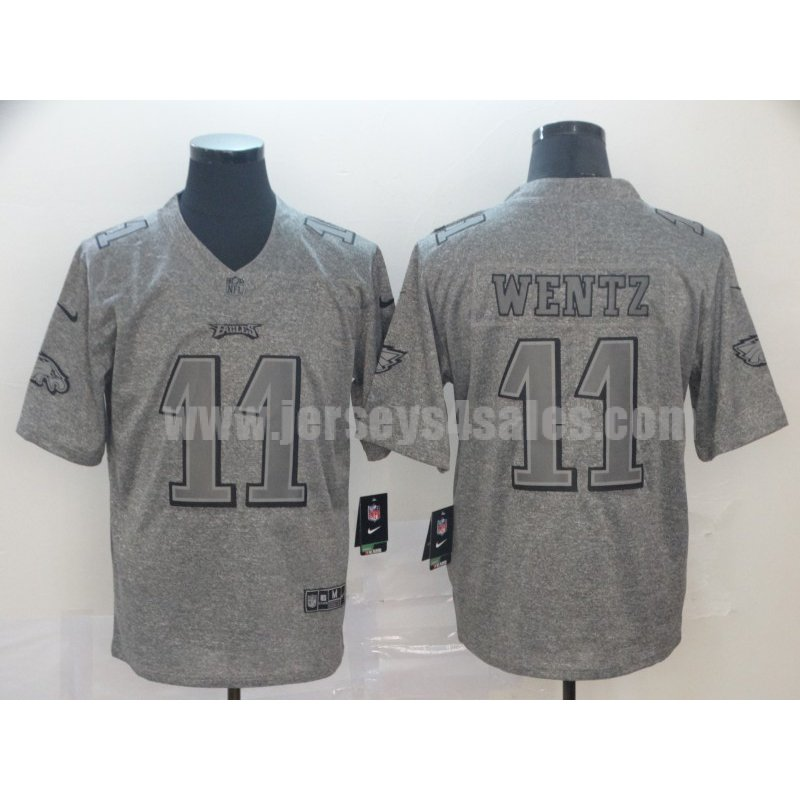 Men's Nike Philadelphia Eagles #11 Carson Wentz Grey Vapor Untouchable Stitched Gridiron Gray Limited Jersey